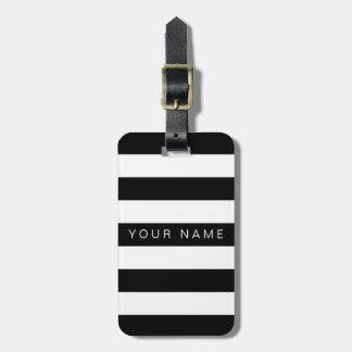 Schwarze u. weiße gestreifte personalisierte gepäck anhänger