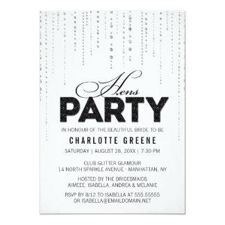 Schwarze u. weiße Glitter-Blick-Henne-Party 12,7 X 17,8 Cm Einladungskarte