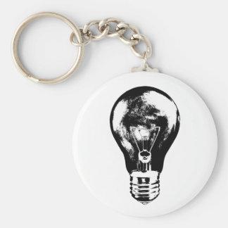 Schwarze u. weiße Glühlampe - Keychain Schlüsselanhänger