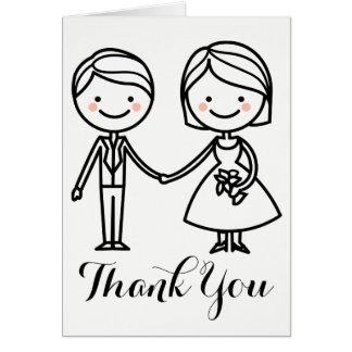 Schwarze u. weiße Hochzeit danken Ihnen Braut u. Karte