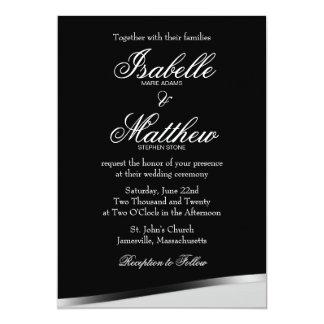 Schwarze u. weiße Hochzeits-Einladung, moderne Karte