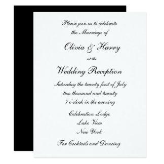 Schwarze u. weiße Hochzeits-Empfangs-Einladung 10,8 X 14 Cm Einladungskarte