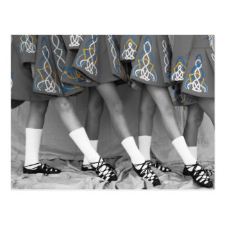 Schwarze u. weiße Iren-Tanz-Postkarte