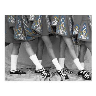 Schwarze u. weiße Iren-Tanz-Postkarte Postkarte
