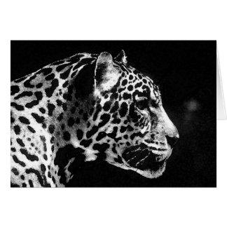 Schwarze u. weiße Jaguar-Pop-Kunst Karte
