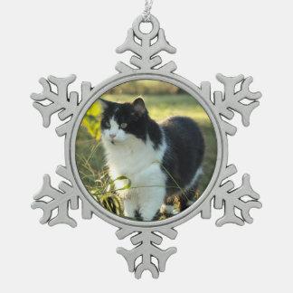 Schwarze u. weiße Katzen-Zinn-Weihnachtsverzierung Schneeflocken Zinn-Ornament