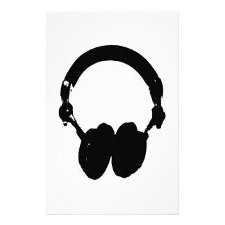 Schwarze u. weiße Kopfhörer-Silhouette Briefpapier