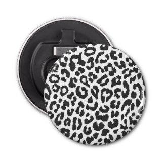 Schwarze u. weiße Leopard-Druck-Tierhaut-Muster Flaschenöffner