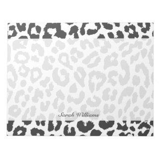 Schwarze u. weiße Leopard-Druck-Tierhaut-Muster Notizblock