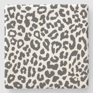 Schwarze u. weiße Leopard-Druck-Tierhaut-Muster Steinuntersetzer
