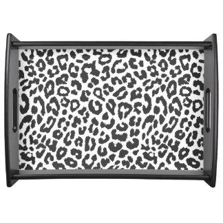 Schwarze u. weiße Leopard-Druck-Tierhaut-Muster Tablett