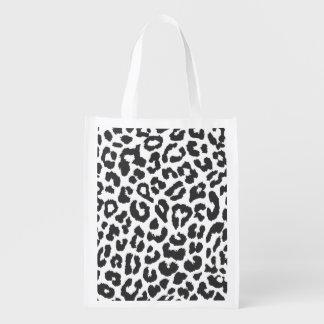 Schwarze u. weiße Leopard-Druck-Tierhaut-Muster Wiederverwendbare Einkaufstasche