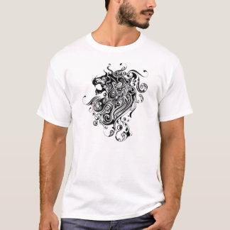 Schwarze u. weiße Löwe Kopf-Tätowierung Art T-Shirt