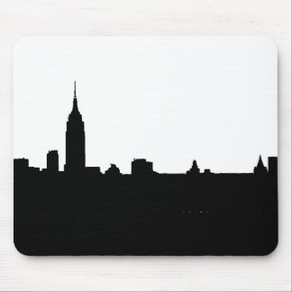Schwarze u. weiße New- YorkSilhouette Mousepad