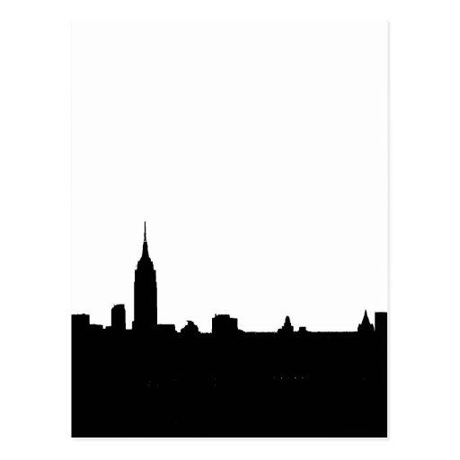 Schwarze u. weiße New- YorkSilhouette Postkarte