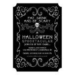 Schwarze u. weiße Party Einladung Halloweens
