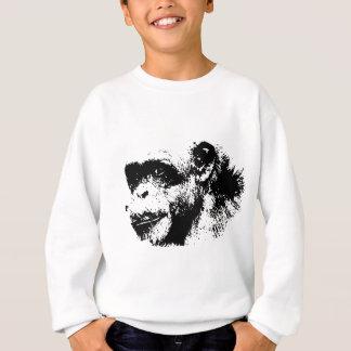Schwarze u. weiße Schimpanse-Pop-Kunst Sweatshirt
