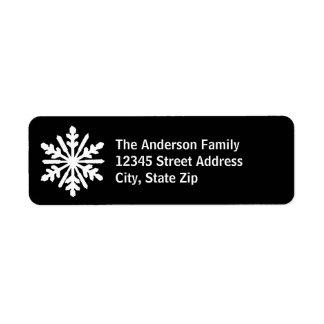 Schwarze u. weiße Schneeflocke - Adressen-Etikett