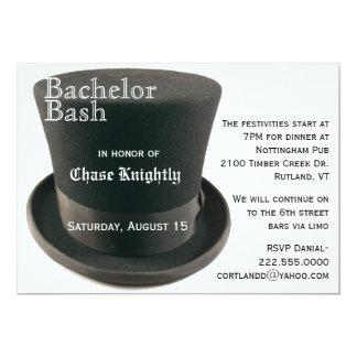Schwarze u. weiße Spitzenhut-Junggeselle-Party 12,7 X 17,8 Cm Einladungskarte