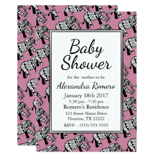 Schwarze u. weiße Stammes- Elefant-rosa Babyparty Karte