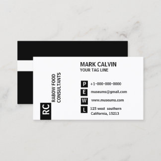 Schwarze u. weiße StandardVisitenkarte Visitenkarte