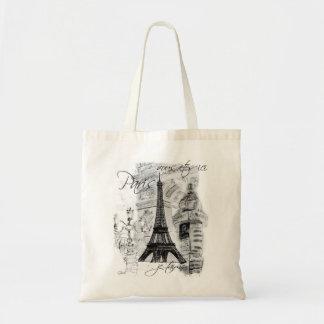 Schwarze u. weiße Straßen-Szene Paris mit Eiffeltu Budget Stoffbeutel
