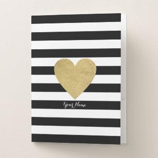 Schwarze u. weiße Streifen mit Goldfolien-Herzen Mappe