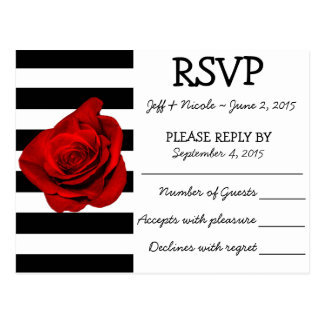 Schwarze u. weiße Streifen mit Rosen-Hochzeit UAWG Postkarte