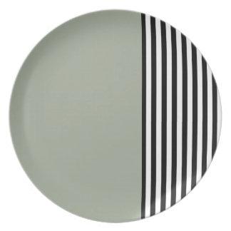 Schwarze u. weiße Streifen-Platte Teller