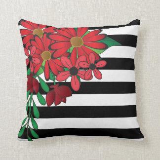 Schwarze u. weiße Streifen und roter Blumen| Kissen