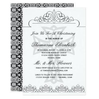 Schwarze u. weiße Taufkreuz-Einladungen Karte
