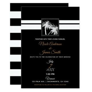 Schwarze u. weiße tropische Palme-moderne Hochzeit Karte