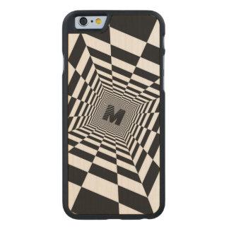 Schwarze u. weiße visuelle Illusion, Monogramm Carved® iPhone 6 Hülle Ahorn