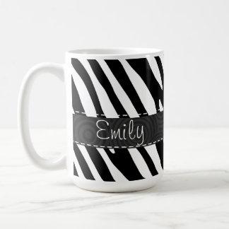 Schwarze u. weiße Zebra-Streifen Kaffeetasse