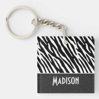 Schwarze u. weiße Zebra-Streifen Beidseitiger Quadratischer Acryl Schlüsselanhänger