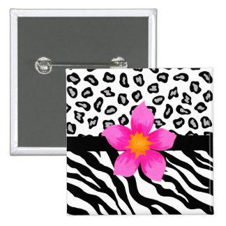 Schwarze u. weiße Zebra-u. Cheetah-Haut u. rosa Quadratischer Button 5,1 Cm