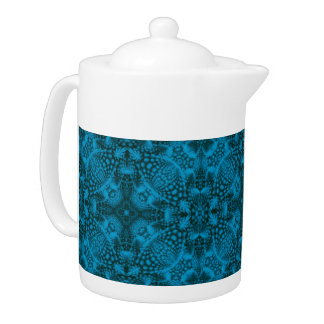 Schwarze und blaue Kaleidoskop-Muster-Teekannen