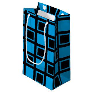 Schwarze und blaue Quadrate Kleine Geschenktüte