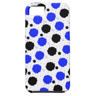 Schwarze und blaue Spritzen-Punkte Tough iPhone 5 Hülle