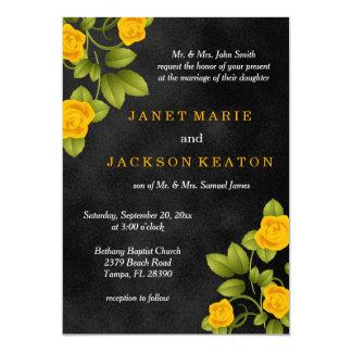 Schwarze und gelbe Rosen-Blumen-Hochzeit Karte