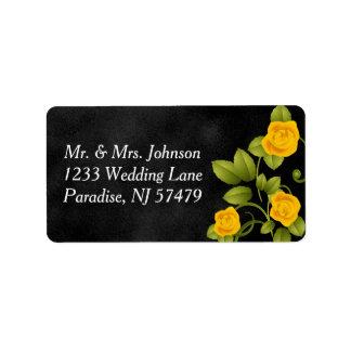 Schwarze und gelbe Rosen-Hochzeit Adressaufkleber