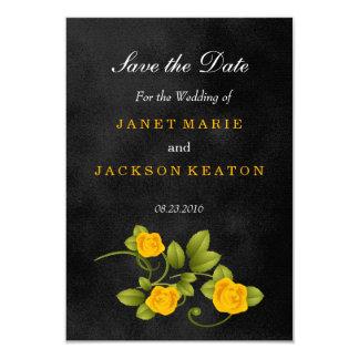 Schwarze und gelbe Rosen-Hochzeit - Save the Date Karte