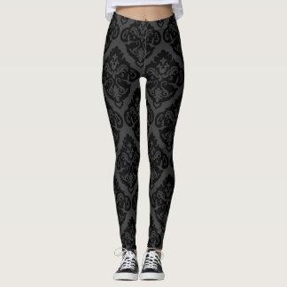 Schwarze und graue Brokat-Muster-Gamaschen Leggings