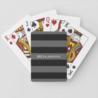 Schwarze und graue Rugby-Streifen mit Pokerdeck
