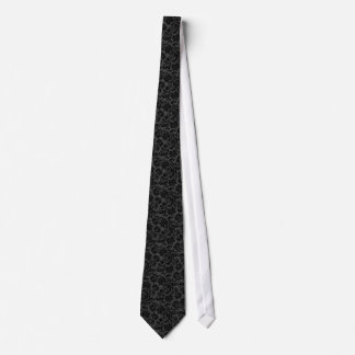 Schwarze und graue Vintage Blumendamaste Personalisierte Krawatten