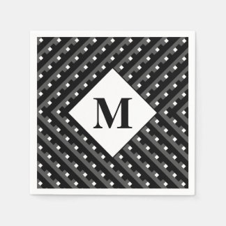 Schwarze und graue winklige Linien des Monogramms Papierserviette