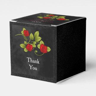 Schwarze und kleine Rosen-Blumen-Hochzeit Geschenkschachtel