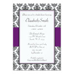 Schwarze und lila Damast-Brautparty-Einladung