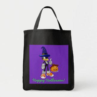 Schwarze und lila Halloween-Leckerei sackt Penguin Leinentaschen
