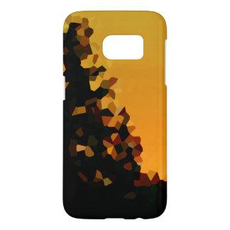 Schwarze und orange Pixel-Mosaik-Form abstrakt